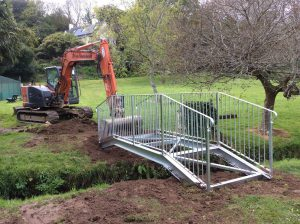 new bridge over the stream, installation